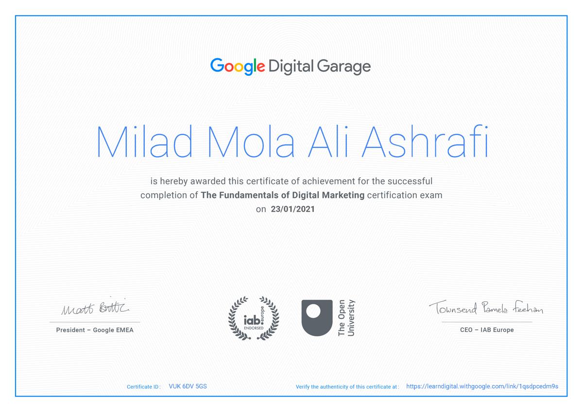 Google Certified, The Foundamentals of Digital Marketing