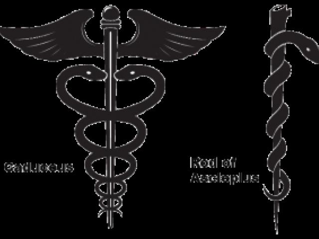 راست: عصای آسکلپیوس — چپ: کادوسه