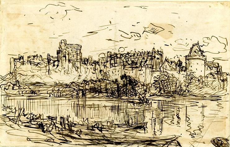 طرح قلعه وینزر از رودخانه توسط آلفرد ویلیام هانت، بین سالهای 1830 و 1896.