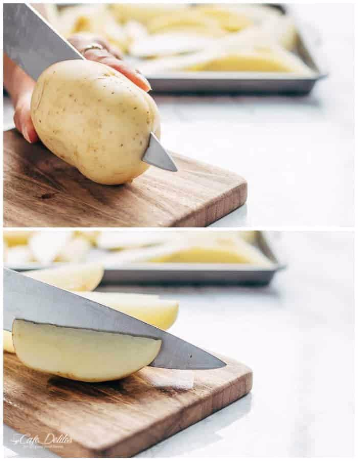 نحوه قاچ کردن سیب زمینی قاچی تنوری