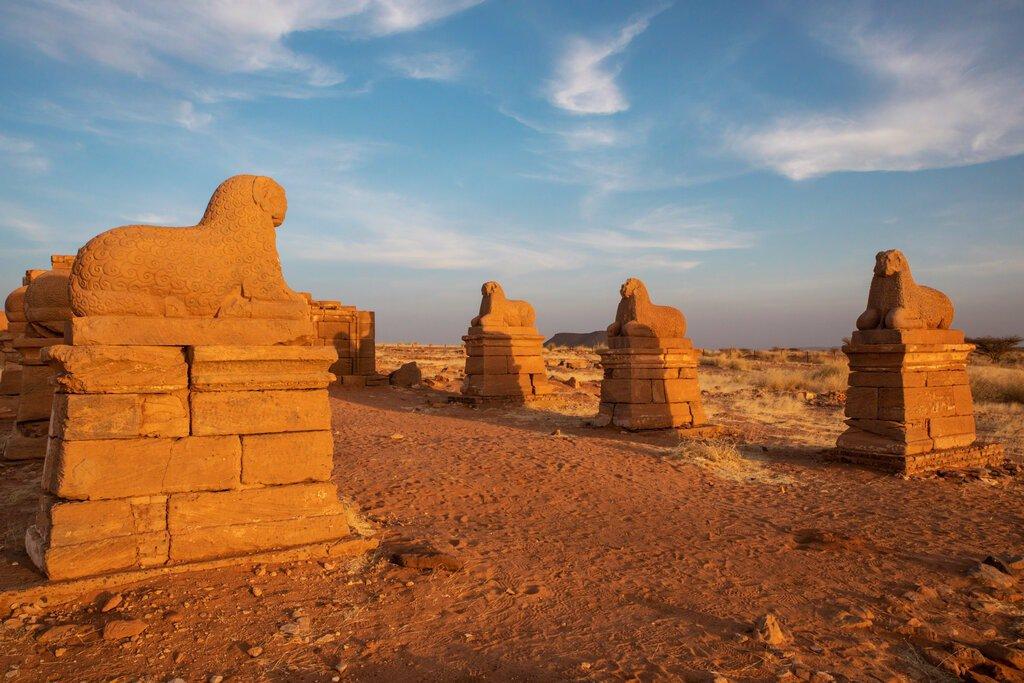 ستونی از قوچها که به معبد آمون در ناقا منتهی می شود.