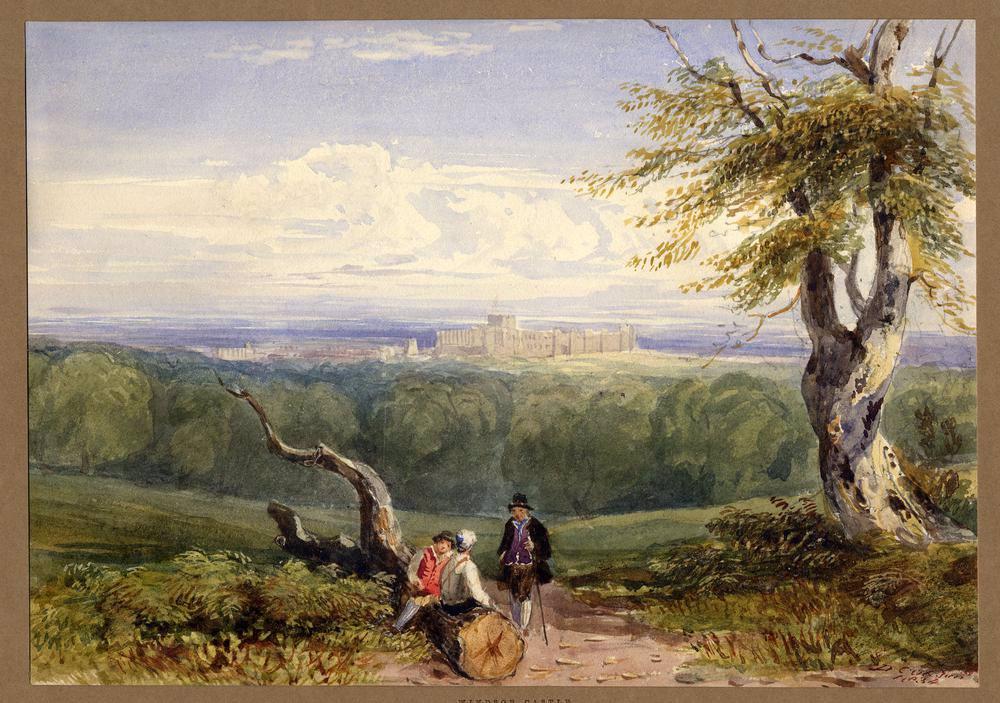آبرنگ، تصویر قلعه وینزر در فاصله دور توسط دیوید کاکس جونیور، 1834.