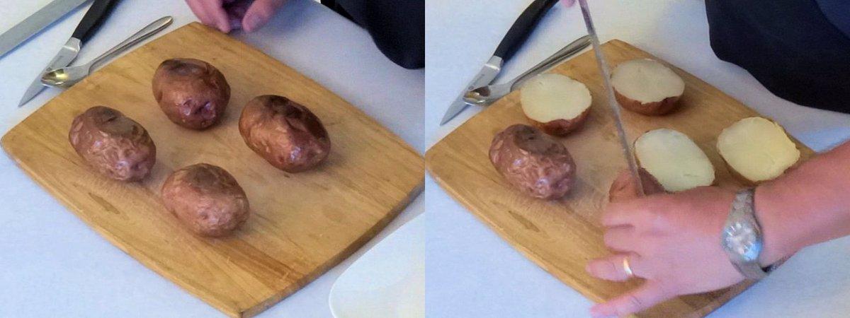 طریقه آماده کردن سیب زمینی های دو بار پخته شده شکم پُر برای فریز کردن 1