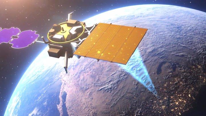 تصویری از پروژه آزمایشگاه تحقیقاتی و نوآوری نیروی هوایی و نیروگاه خورشیدی (SSPIDR)، که هدف آن تابش انرژی خورشید از فضا به زمین است.