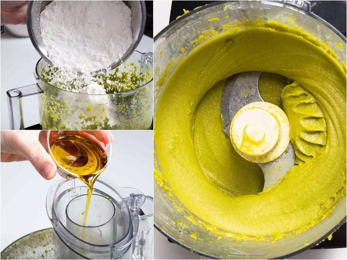 پودر قند، عرق بهار نارنج و نمک را اضافه کرده و هم بزنید تا بافت خامه ای بگیرد