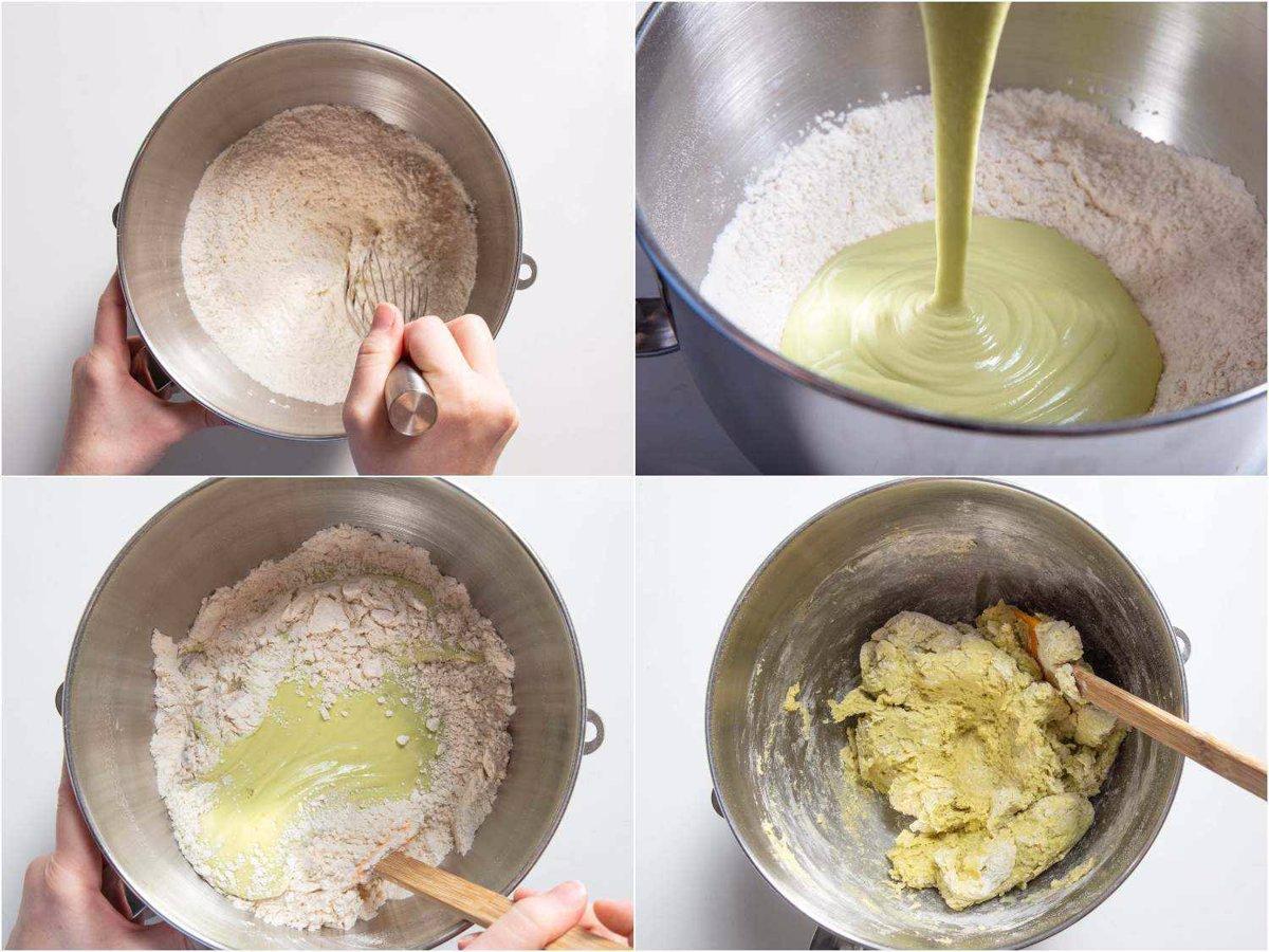 آرد، مخمر و نمک را کاملاً مخلوط کنید