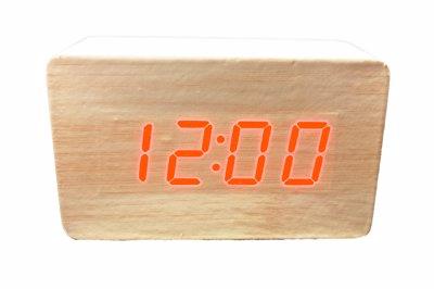 ساعت دیجیتال رومیزی کرم طرح چوب