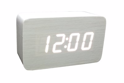 ساعت دیجیتال رومیزی سفید طرح چوب