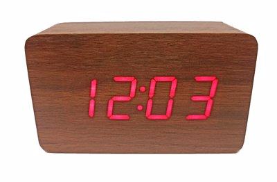 ساعت دیجیتال رومیزی قهوه ای طرح چوب